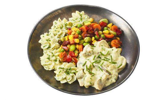 Zoutarm Champignon-paddenstoelenragout met groentemix en aardappelpuree met groene kruiden