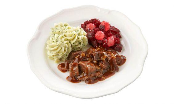 Gluten- en lactosevrij Hachee, rode bietjes met zilveruitjes en aardappelpuree met tuinkruiden