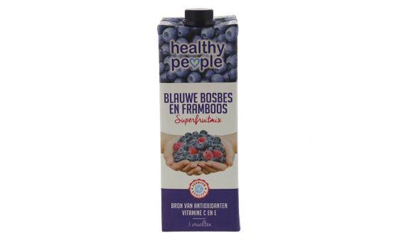 Healthy People blauwe bosbes en framboos sap