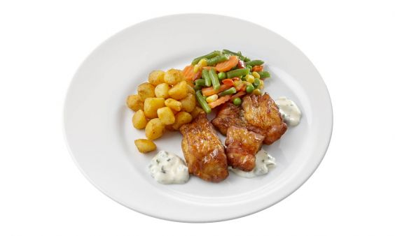 Zoutarm Kibbeling met ravigottesaus, Mexicaanse groenten en gebakken krieltjes