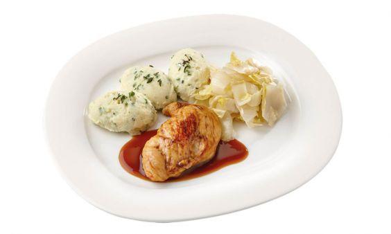 Gluten- en lactosevrij Kipfilet met kippenjus met gestoofde witlof en aardappelpuree met tuinkruiden