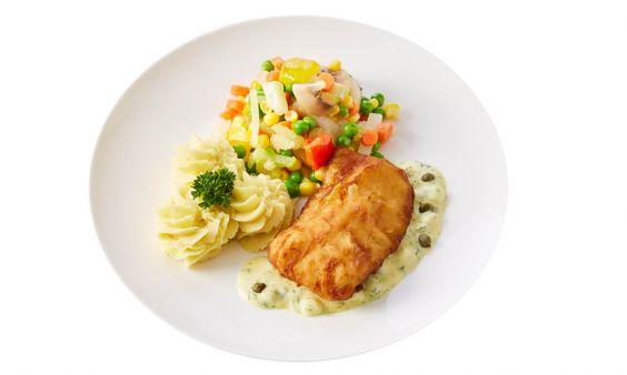 Standaard Lekkerbekje met ravigottesaus, fijne groenten en aardappelpuree met tuinkruiden