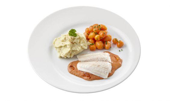 Standaard Pangafilet in Provencaalse saus, Parijse worteltjes en aardappelpuree