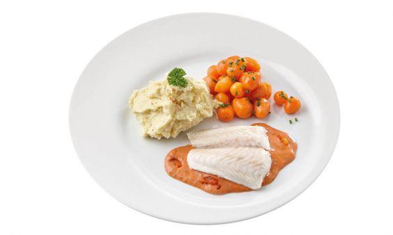 Gluten- en lactosevrij Pangafilet in Provencaalse saus, Parijse worteltjes en aardappelpuree