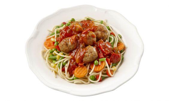 Standaard Spaghetti met gehaktballetjes in kruidige tomatensaus