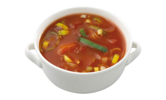 Vegetarische Tomatensoep met Prei