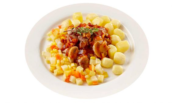 Gluten- en lactosevrij Varkensstoofpotje, vergeten groentemix en mini krieltjes