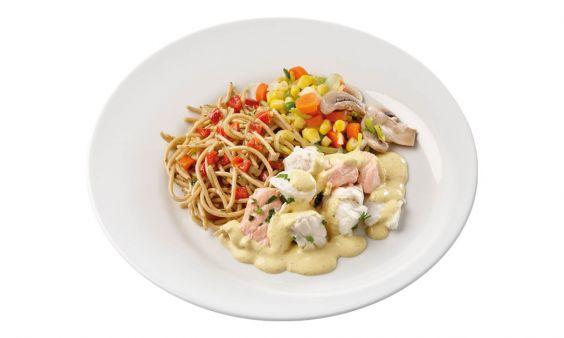 Zalm & Kabeljouw, Groenten & Spaghetti