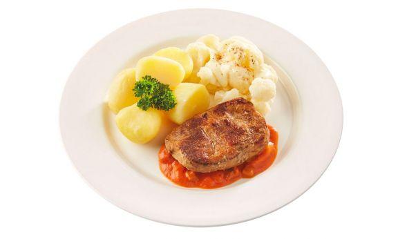 Gluten- en lactosevrij Hamlapje in stroganoffsaus, bloemkool à la crème en gekookte aardappelen