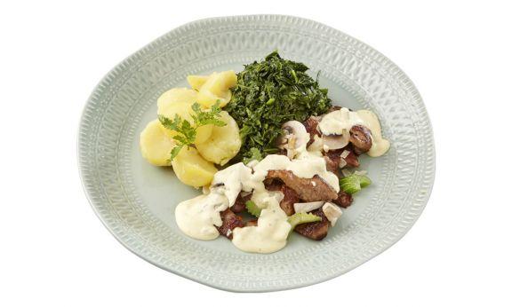Kalfsvlees met Spinazie & Aardappelen