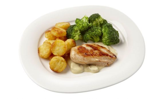 Standaard Kipfilet in champignonsaus, broccoli en rösti rondjes