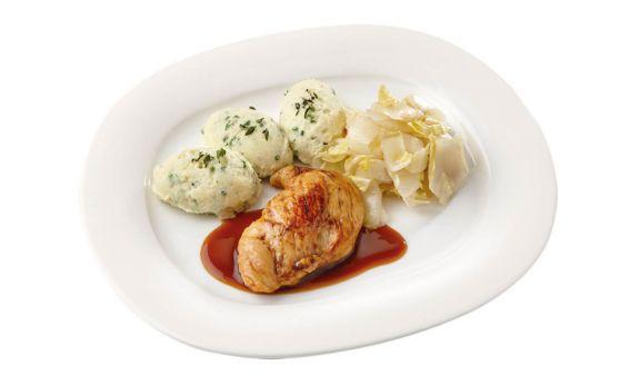 Gemalen Kipfilet met kippenjus met gestoofde witlof en aardappelpuree met tuinkruiden