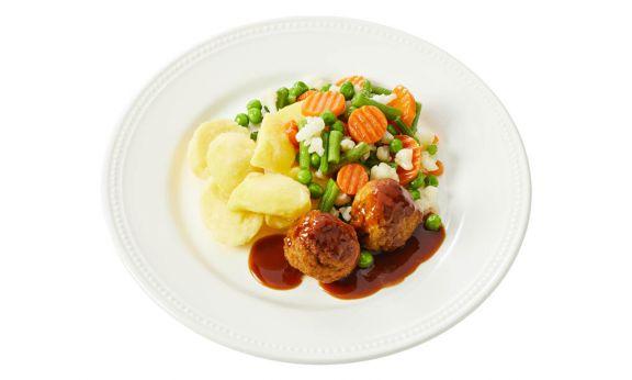 Gehaktbal met Groenten & Aardappelen