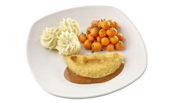 Standaard Omelet champignon in Provencaalse saus, Parijse worteltjes en aardappelpuree