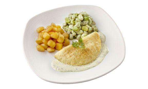 Omelet met Tuinbonen & Krieltjes (zoutarm)