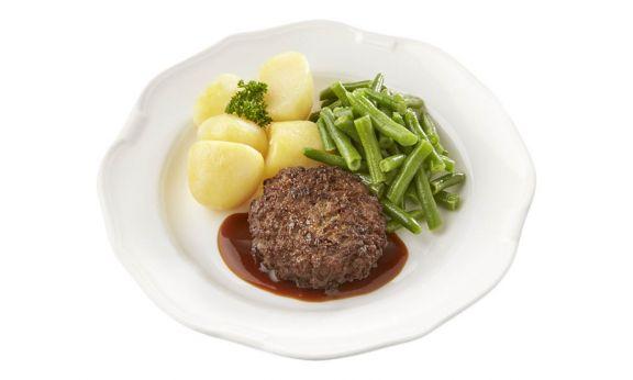 Gemalen Rundertartaartje met jus, sperziebonen en gekookte aardappelen