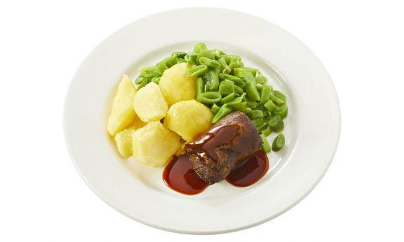 Standaard Rundervink met jus, snijbonen en gekookte aardappelen