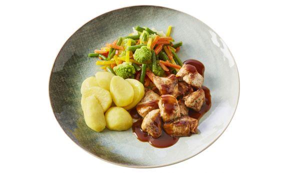 Varkenshaasstukjes met Aardappelen