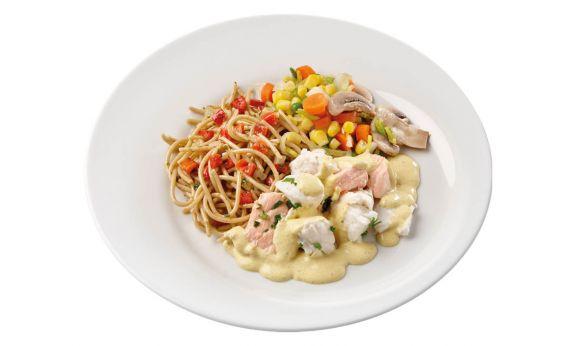 Zalm & Kabeljouw, Groenten & Spaghetti (zoutarm)