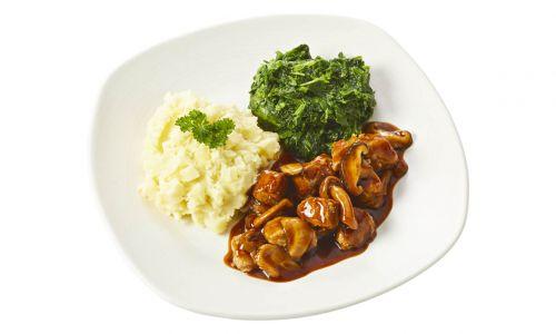 Standaard Plantaardige kipstukjes in paddenstoelenjus met spinazie en pastinaakpuree