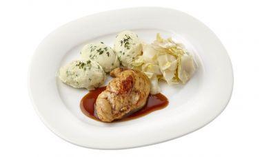 Kipfilet met kippenjus, gestoofde witlof en aardappelpuree met tuinkruiden