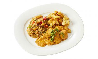 Kip tandoori met curry-bloemkool en Indiase rijstschotel